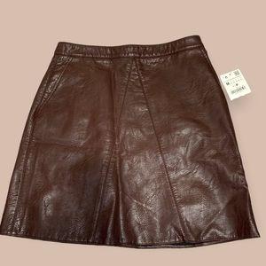 NWT Zara Brown Faux Leather Mini Skirt
